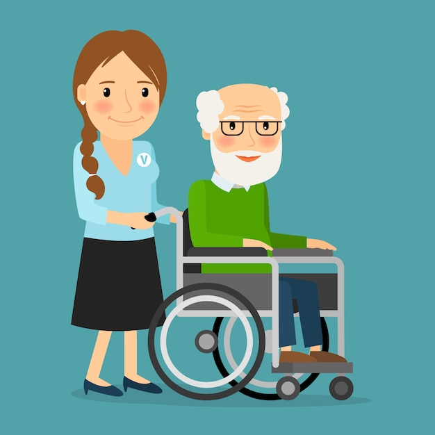 Volunteer pushing wheelchair with disabled old man Premium Vector