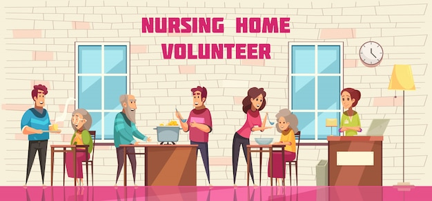 Volunteer social help and support for elderly people in nursing home flat cartoon horizontal banner Free Vector