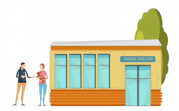 Volunteering composition with flat animal shelter house and young volunteer characters giving food t Free Vector