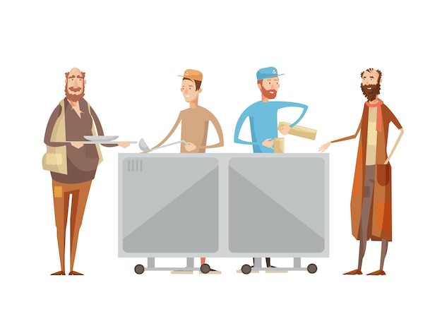 Volunteering composition with flat characters of volunteers in uniform dispensing drinks and food to Free Vector
