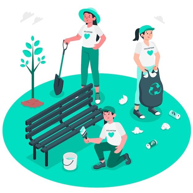 Volunteering concept illustration Free Vector