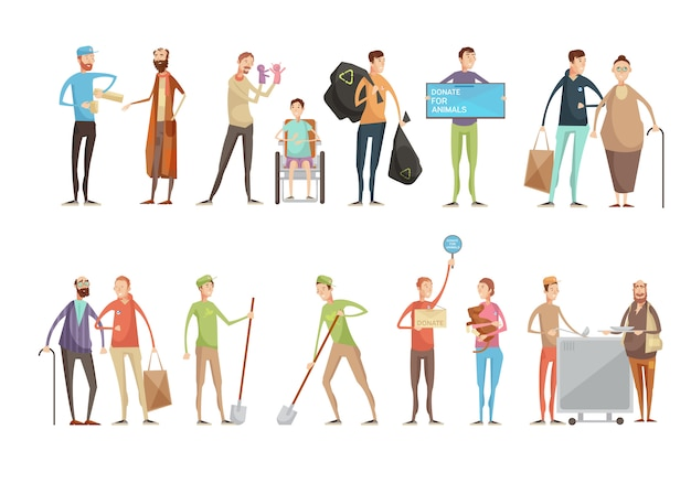 Volunteering people flat characters set with young volunteers helping animals old and disabled peopl Free Vector