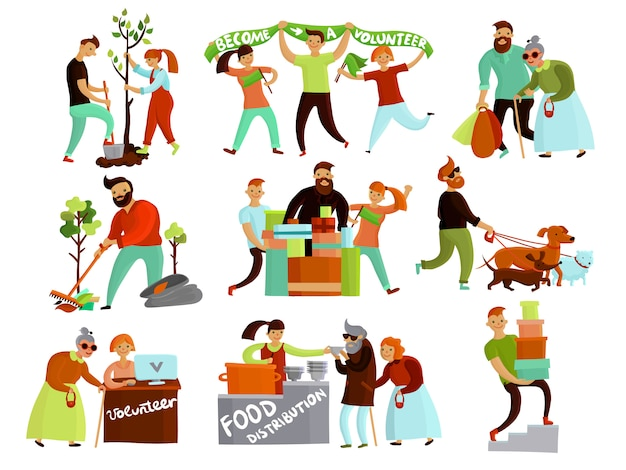 Volunteering situations cartoon collection Free Vector