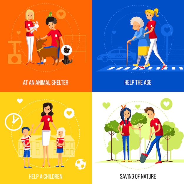 Volunteers action concept on colored background Free Vector