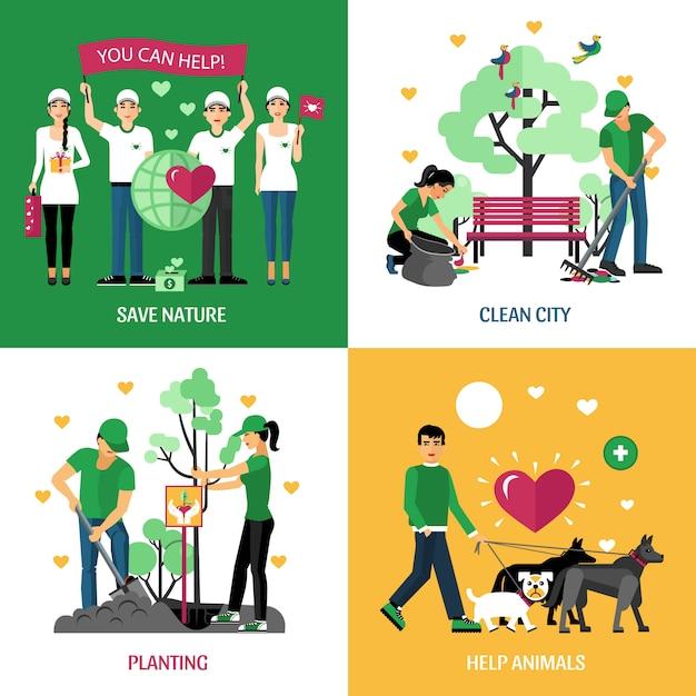 Volunteers characters design concept Free Vector
