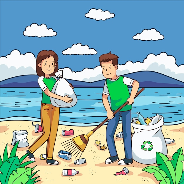Volunteers cleaning up trash on the beach Free Vector