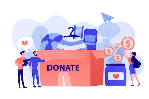 チャリティーのための商品を巨大な募金箱に集め、コインを瓶に寄付するボランティア。寄付、チャリティー寄付基金、親切なコンセプトのギフト。ピンクがかった珊瑚bluevector分離イラスト 無料ベクター