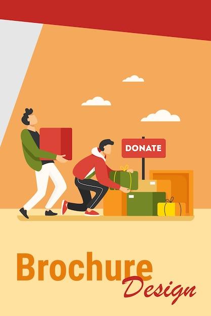 貧しい人々のために箱に入ったものを寄付するボランティア。サービス、ホームレス、優しさフラットベクトルイラスト。チャリティーとケアのコンセプト 無料ベクター