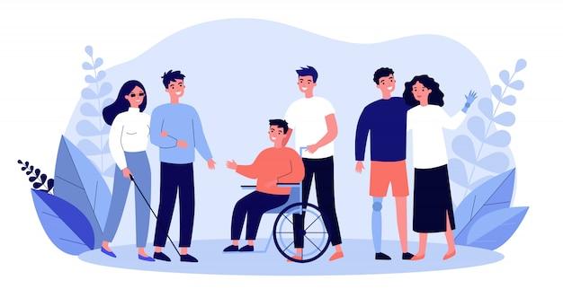 Volunteers helping disabled people Premium Vector