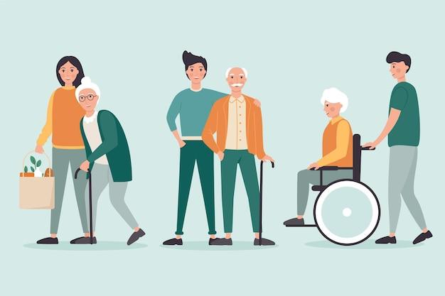 Volunteers helping elderly theme Free Vector