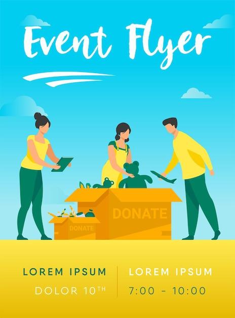 Volontari che imballano il modello di volantino di scatole di donazione Vettore gratuito