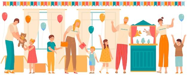 Люди-волонтеры играют с детьми и дарят подарки детям в приюте или школе, иллюстрация Premium векторы