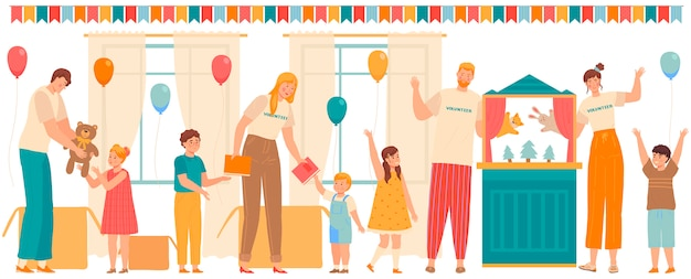 Volunteers people play with children and give presents to kids in orphanage or school,  illustration Premium Vector