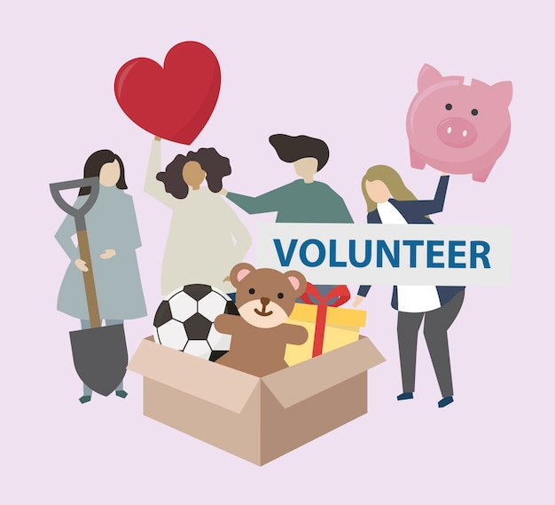 Volunteers with charity icons illustration Free Vector