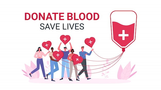 Volunteers woman and man donating blood. blood donor charity. Premium Vector