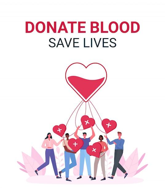 Volunteers woman and man donating blood. Premium Vector