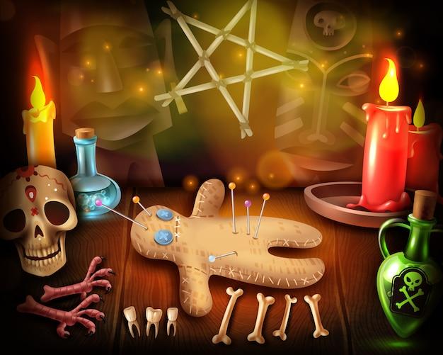 Voodoo bambola culto rituali religiosi illustrazione realistica con pratiche spirituali occulte teschi a lume di candela mistico Vettore gratuito