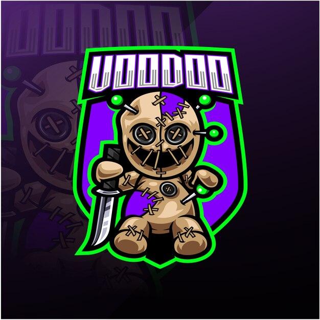 Voodoo eスポーツマスコットロゴ Premiumベクター