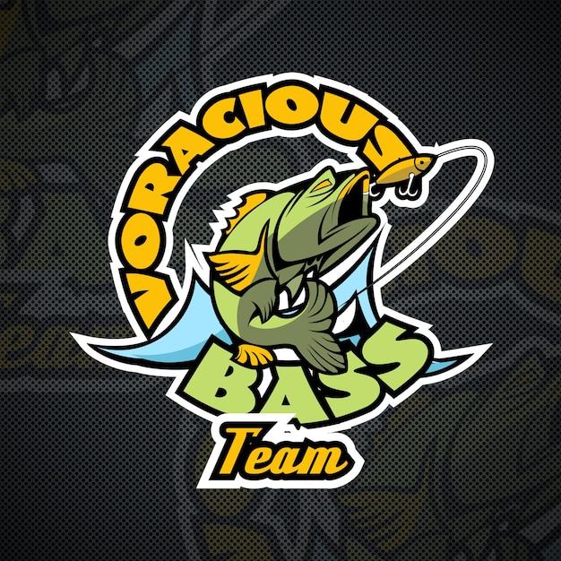 Воинственный бас, девиз команды рыбаков. шаблон логотипа. Premium векторы