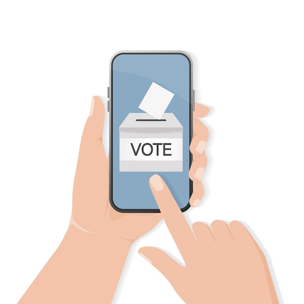 Vote box, great  for any purposes. voting hand . minimal .  illustration. Premium Vector