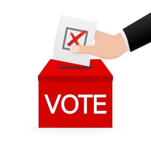 Ящик для голосования, отлично подходит для любых целей. голосование рукой. минимальный. иллюстрация. Premium векторы