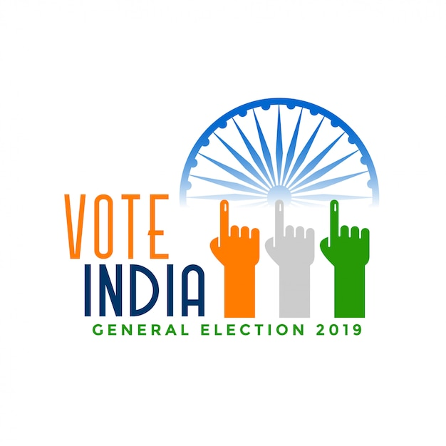 Vote india general election with finger hand Free Vector