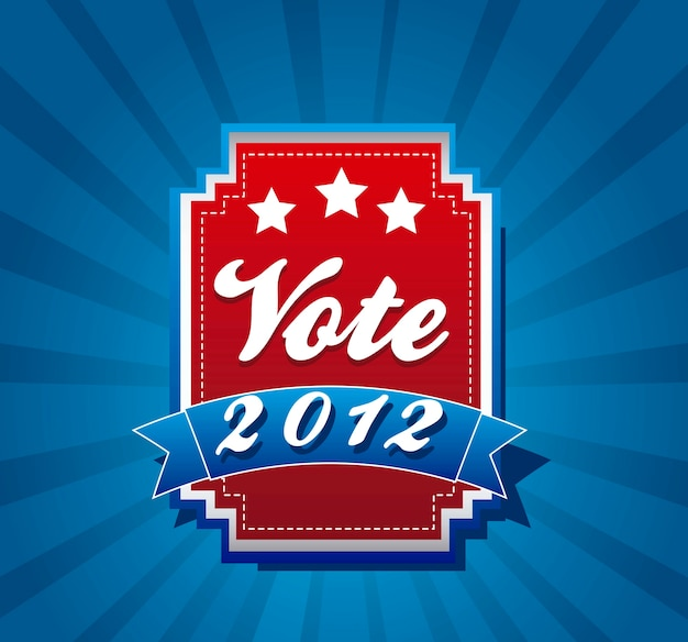 Vote label over blue background vector illustration Premium Vector