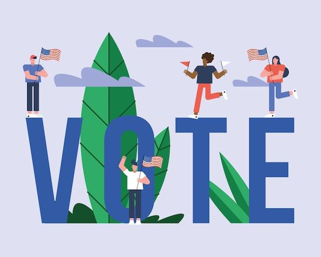 手紙選挙日のベクトルイラストデザインの米国旗を持つ有権者 Premiumベクター