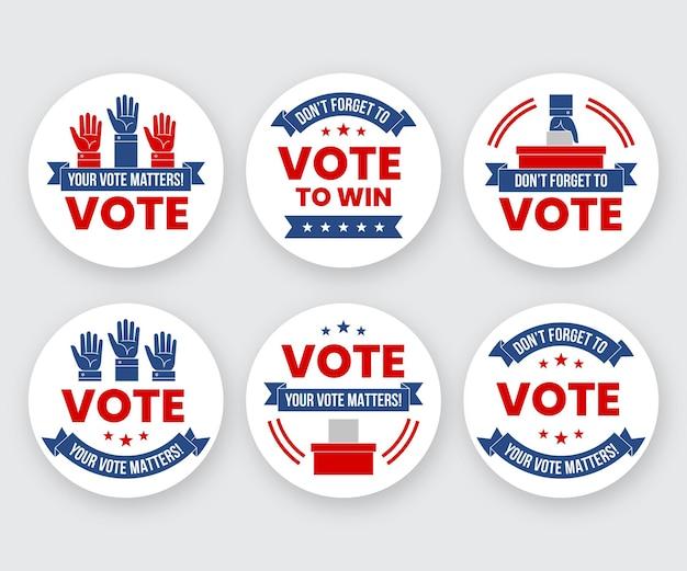 Distintivi di voto per il prossimo presidente Vettore gratuito