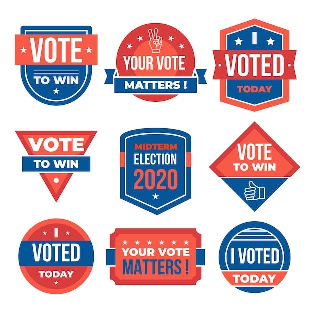 Значки для голосования и набор наклеек Бесплатные векторы