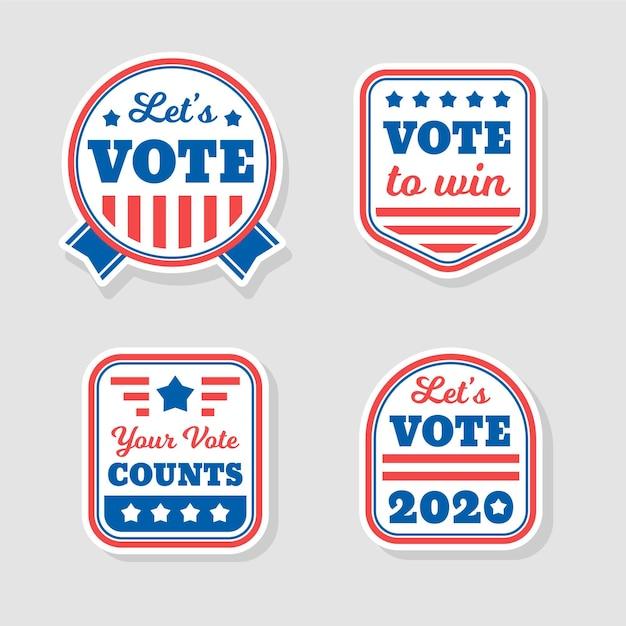 Дизайн значков и наклеек для голосования Бесплатные векторы