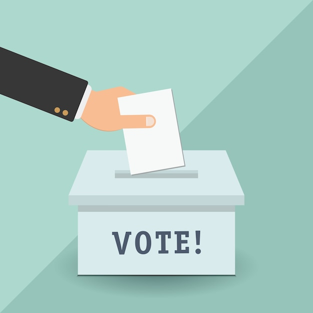 Voting concept in flat style - hand putting paper in the ballot box Premium Vector