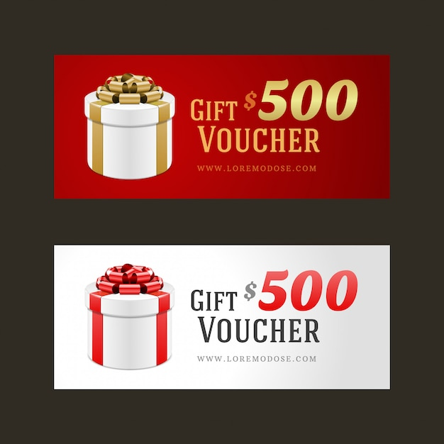 Voucher template with gift box and bow Premium Vector