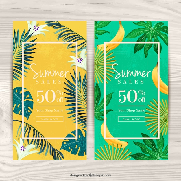 vouchers for summer with tropical theme vector free download