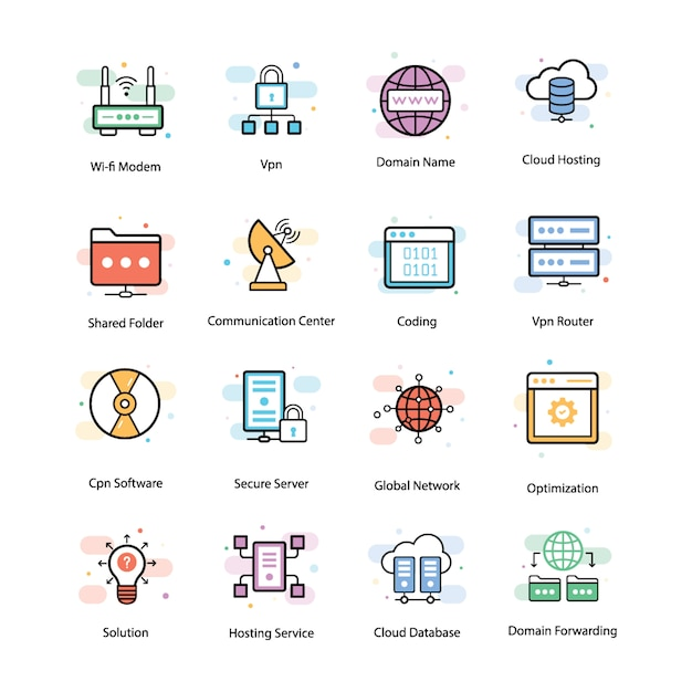 Vpn and networking icons Premium Vector