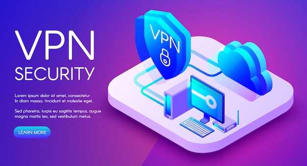 VPN security technology isometric illustration\ of digital personal data protection software