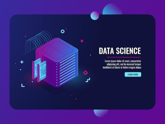 データフローコンピューティング、サーバールーム、データベースとデータセンターのアイコン、vpnシステム 無料ベクター