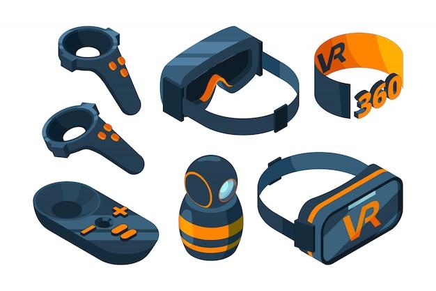 Vr изометрические иконы. погрузитесь в виртуальную реальность, испытайте игровое оборудование, шлем и очки, симулятор 3d картинки Premium векторы