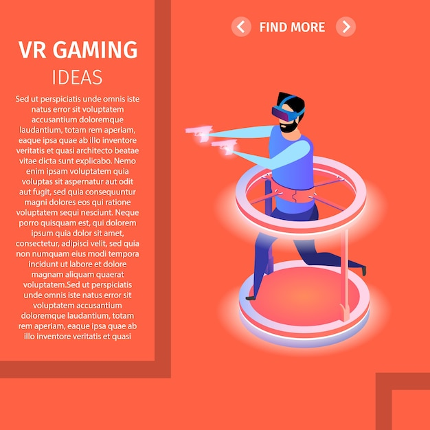 Vr gaming square banner. man playing video game Premium Vector