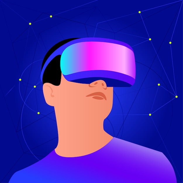 Vr helmet for space simulation and digital gaming Premium Vector