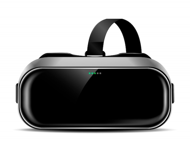 Vr helmet or virtual reality glasses with shadow, front view, realistic clip-art Premium Vector
