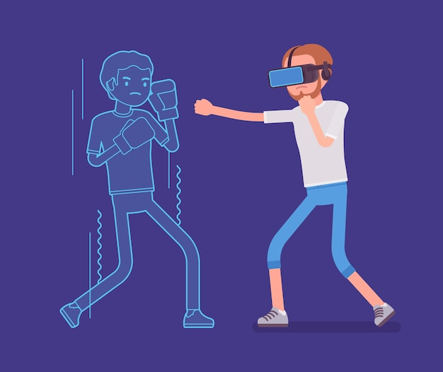 Vr man fighting Premium Vector