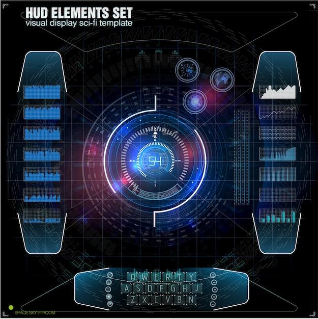 未来のvrヘッドアップディスプレイデザイン。 sci-fiヘルメットhud。将来の技術ディスプレイデザイン。 Premiumベクター