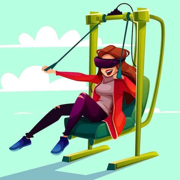 Vr simulator entertainment paragliding cartoon illustration. Free Vector