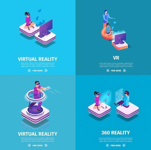 Vr square banners set with gaming people playing Premium Vector