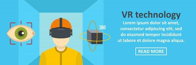Vr technology banner template horizontal concept Premium Vector