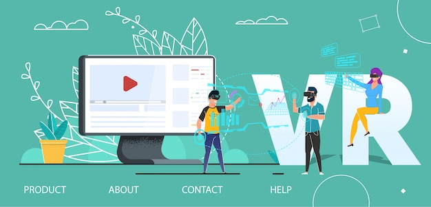 Vr technology user interface flat landing page Premium Vector