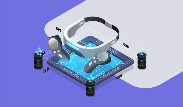 Инструменты для очков виртуальной реальности vr. концепция виртуальной дополненной реальности. изометрический дизайн иллюстрация Premium векторы