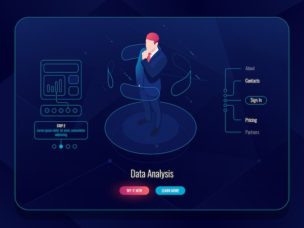Vr virtual reality isometric, man stay on platform and choosing options, data analysis concept Free Vector