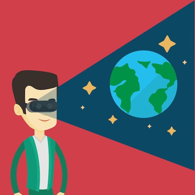 Человек в гарнитуру vr получая в открытом космосе. Premium векторы
